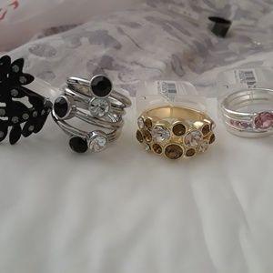 4 RINGS...2 Stacked, 1 Amber gemstone 1 blk